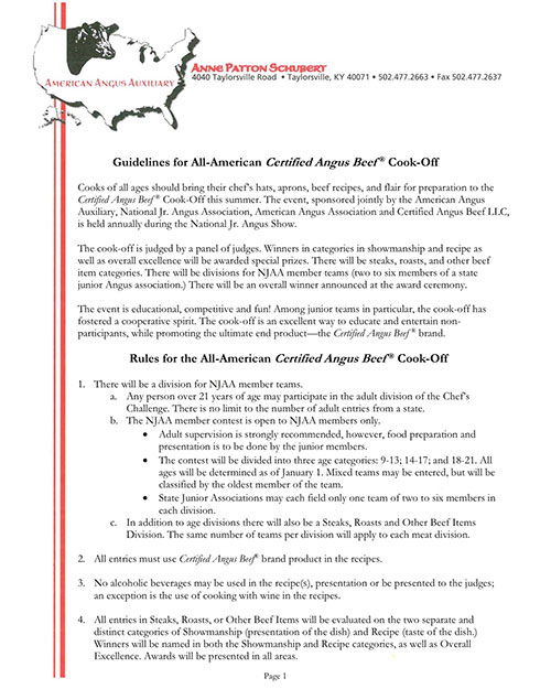 Cook-off Guidelines